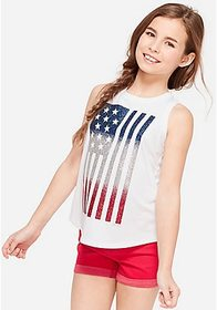 Justice Glitter American Flag Graphic Tank