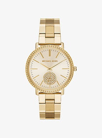 Michael Kors Oversized Jaryn Pavé Gold-Tone Watch