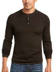 Joseph Abboud Bark Brown Modern Fit Henley Sweater