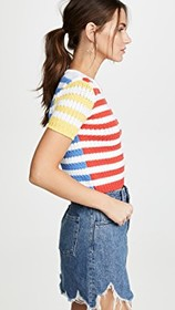 alice + olivia Ciara Short Sleeve Cropped Cable Sw