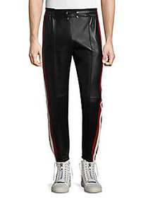 Bally Striped Leather Trousers BLACK