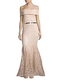 Nicole Bakti Sequined Off-the-Shoulder Gown NUDE