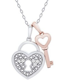 "Diamond Accent Heart Lock & Key 18"" Pendant Neckla"