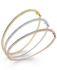 Diamond Bangle Bracelet Trio in 14k Gold and 14k R