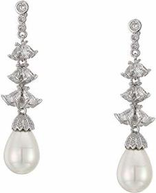 Nina CZ & Pearl Linear Drop Earrings
