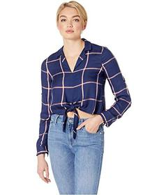 BCBGeneration Tie Front Roll Sleeve Woven Top