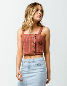 SKY AND SPARROW Asymmetric Button Front Rust Women