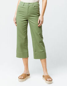 SKY AND SPARROW Twill Crop Womens Wide Leg Pants_