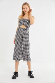 LèRumi Violet Gingham Strapless Button-Front Midi
