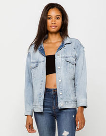 RSQ Boyfriend Womens Ripped Denim Jacket_