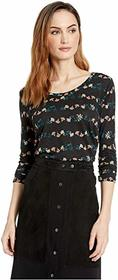 Lucky Brand 3/4 Sleeve Placed Floral Tee