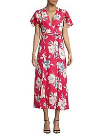 French Connection Floral Crepe Midi Dress AZALEA M