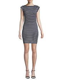 French Connection Striped Stretch Mini Bodycon Dre