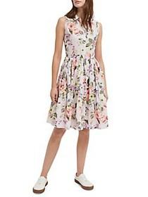 French Connection Armoise Floral Pleated Dress LAV