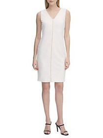 Calvin Klein Bead Placket V-Neck Sheath Dress SOFT