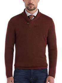 Joseph Abboud Brick Red Shawl Collar Sweater