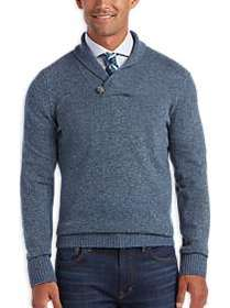 Joseph Abboud Heather Blue Shawl Collar Sweater