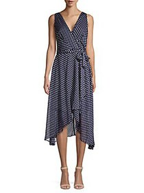 Karl Lagerfeld Paris Sleeveless Polka Dot High-Low