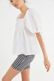UO Diana Crinkle Puff Sleeve Babydoll Top