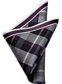 Men's Wearhouse Purple Plaid Pocket Silk