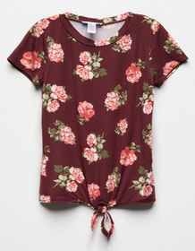 WHITE FAWN Floral Tie Front Burgundy Combo Girls T
