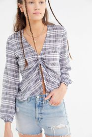 The Fifth Label Ivy Plaid Cinched Balloon Sleeve T