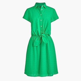 J. Crew Factory Eyelet collared tie-front dress