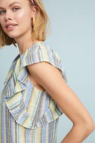 Anthropologie Blair Striped Flutter Top