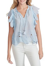 Jessica Simpson Aster Flutter-Sleeve Top AIRY BLUE