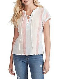 Jessica Simpson Dalton Lace-Up Cotton Top MULTI