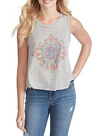 Jessica Simpson Graphic Tank Top LIGHT HEATHER GRE
