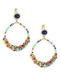 Kenneth Jay Lane Seed Bead Gypsy Hoop Earrings GOL