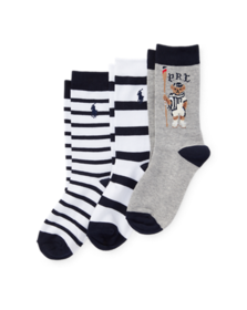 Ralph Lauren Rowing Bear Crew Sock 3-Pack