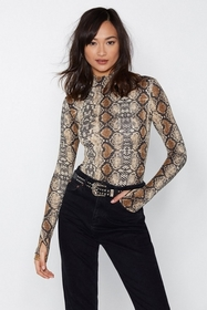 Nasty Gal Womens Beige The Snakes are High Bodysui