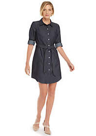 The Limited Petite Roll Sleeve Shirt Dress