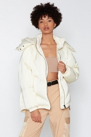 Nasty Gal Womens White Layer It On Padded Coat