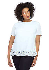 The Limited Plus Size Ruffle Bottom Top