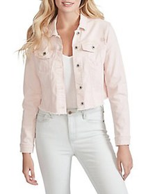 Jessica Simpson Pixie Frayed Cropped Jacket PEACH