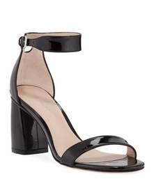 Stuart Weitzman Partlynude Patent Ankle-Strap Sand