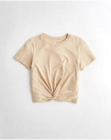 Hollister Twist-Front T-Shirt, LIGHT BROWN