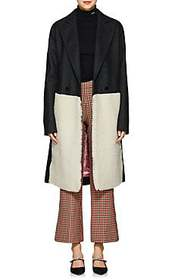 Cedric Charlier Shearling-Inset Wool-Blend Coat