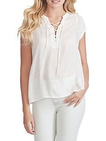 Jessica Simpson Dalton Lace-Up Cotton Top BRIGHT W