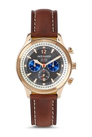 JACK MASON Men's Nautical Chrono Leather Strap Wat