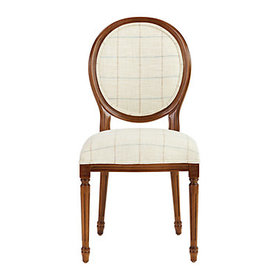 Oval Back Louis XVI Side Chair in Albany Sand and