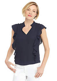 The Limited Flutter Sleeve Side Front V Neck Blous