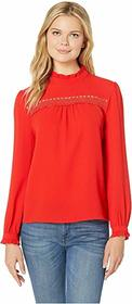 CeCe Long Sleeve Ruffled Mock Neck Blouse w/ Lace