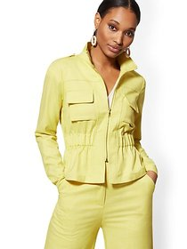Chartreuse Zip-Front Jacket - 7th Avenue - New Yor