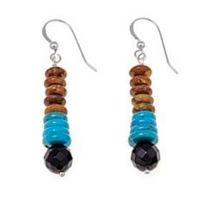 Jay King Turquoise and Black Agate Drop Earrings