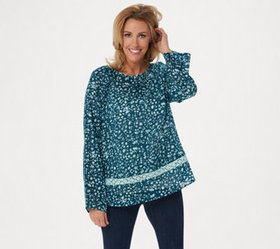 LOGO by Lori Goldstein Printed Gauze Top with Croc