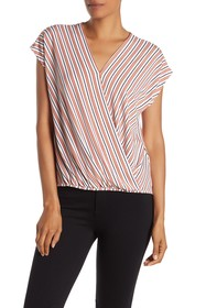 Adrianna Papell Surplice Faux Wrap Top